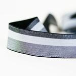 Gummiband 30 mm meliert gestreift grau