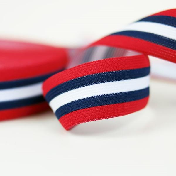 Gummiband 35 mm rot dunkelblau weiß