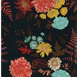 FLORAL GLOW TWILIT Popeline Blumen petro