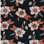 AUTUMN NECTAR Popeline Blumen blaupetrol