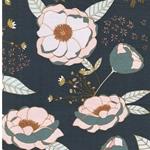 SPRINKLED PEONIES Jersey Blumen graublau