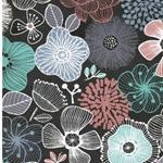 reißfester Nylonstoff große Blüten grau