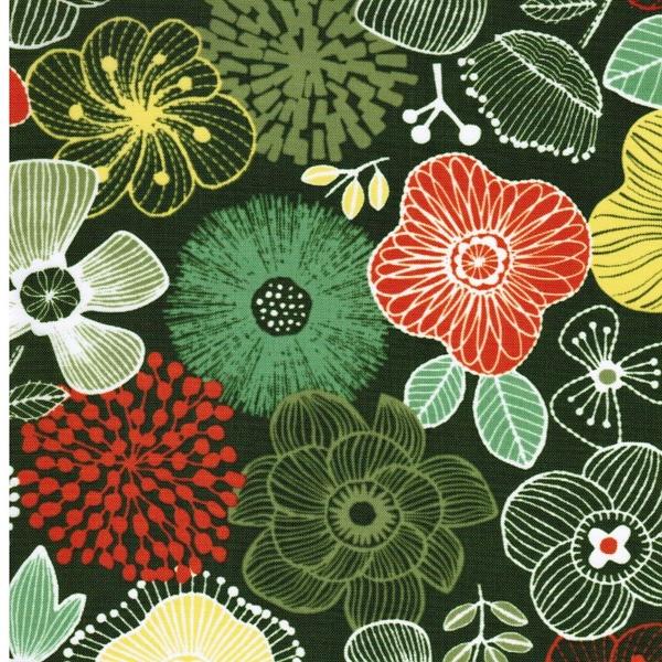 reißfester Nylonstoff große Blüten grün