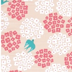 Nylonstoff Blümchen Vögel apricot