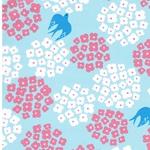 Nylonstoff Blümchen Vögel hellblau