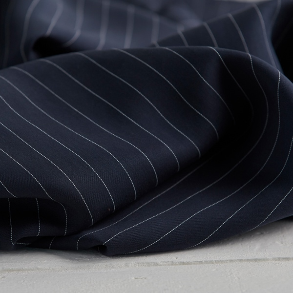 TENCEL PIN STRIPE TWILL navy