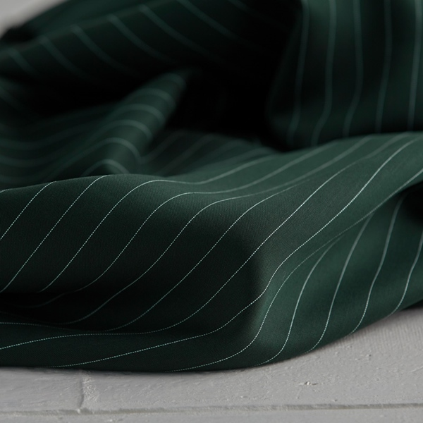 TENCEL PIN STRIPE TWILL deep green