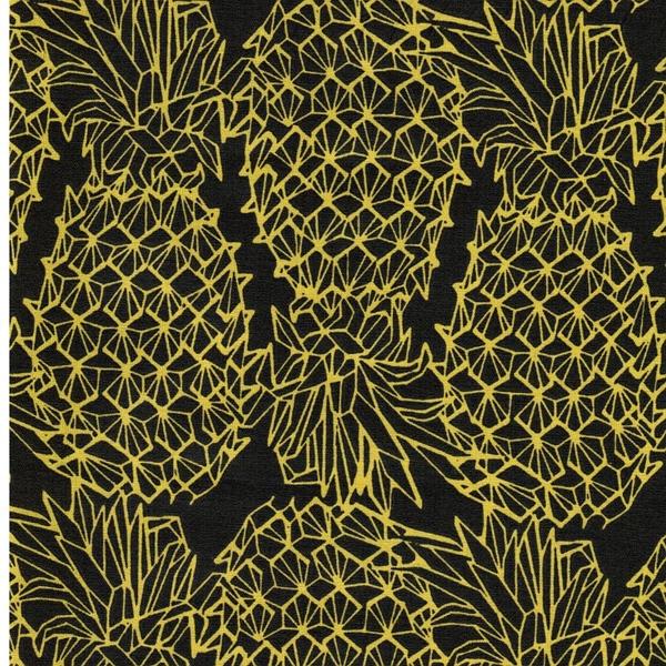 Swafing LEONA Wachstuch Ananas schwarz