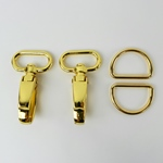 Metall-Set Karabiner D-Ring 25mm gold