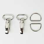 Metall-Set Karabiner D-Ring 40mm silber