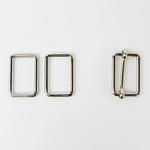 Metall-Set Schließe+Viereck 40mm silber