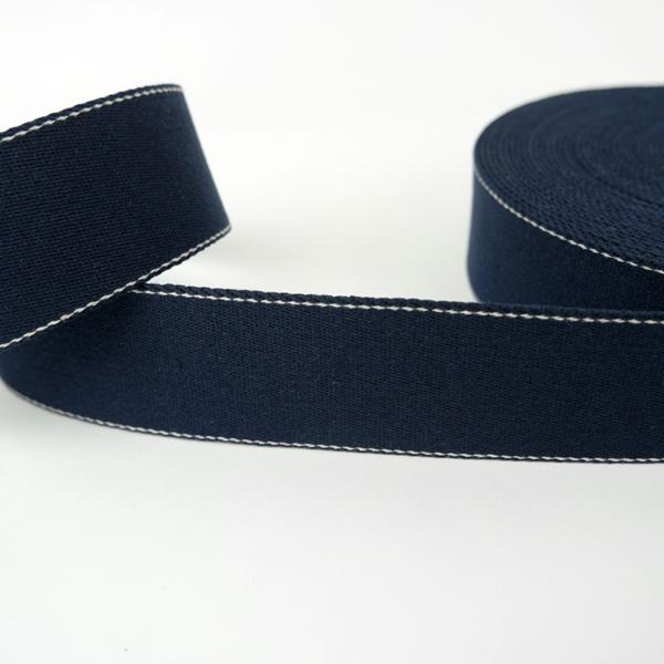 Gurtband 40 mm navy mit weißer Ziernaht