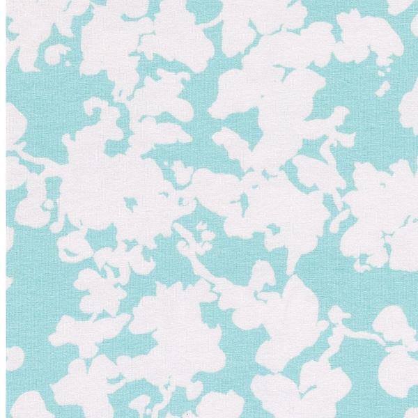 SELINA Viskosejersey Blüten aqua wollwei
