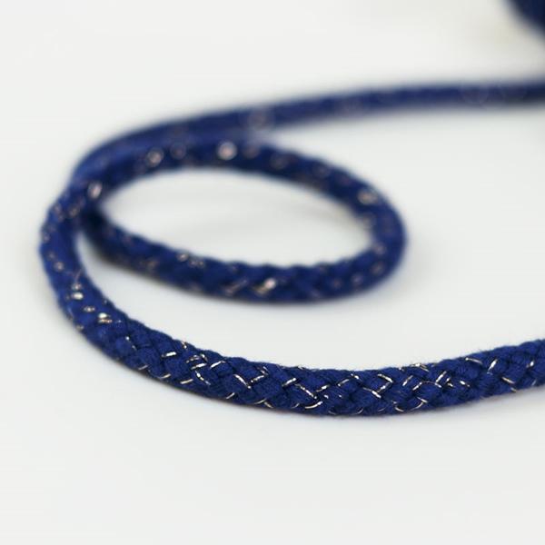 breite Kordel Lurex 8 mm blau gold