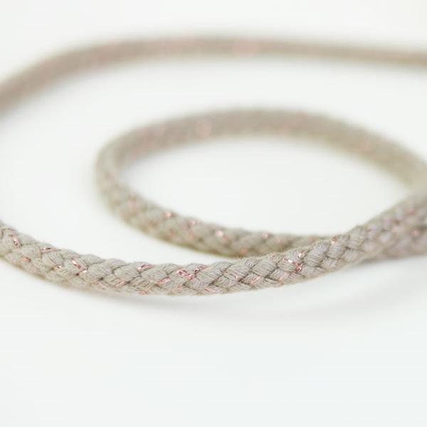breite Kordel Lurex 8 mm beige kupfer