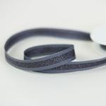 Glitzer-Ripsband gestreift 15 mm grau