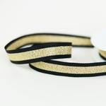 Glitzer-Ripsband gestreift 15 mm schwarz