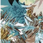 VARINIA Viskosejersey Blätter blau braun