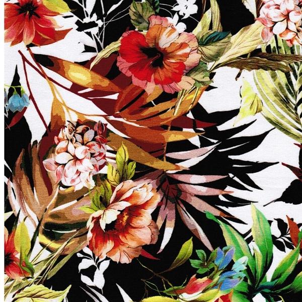 LUCILA Viskosejersey Blumen Blätter