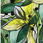 BLOSSOM Viskosejersey Blüten Blätter