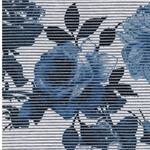 LURATE Viskosejersey Rosen Streifen blau