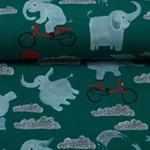 LIANE Jersey fröliche Elefanten petrol