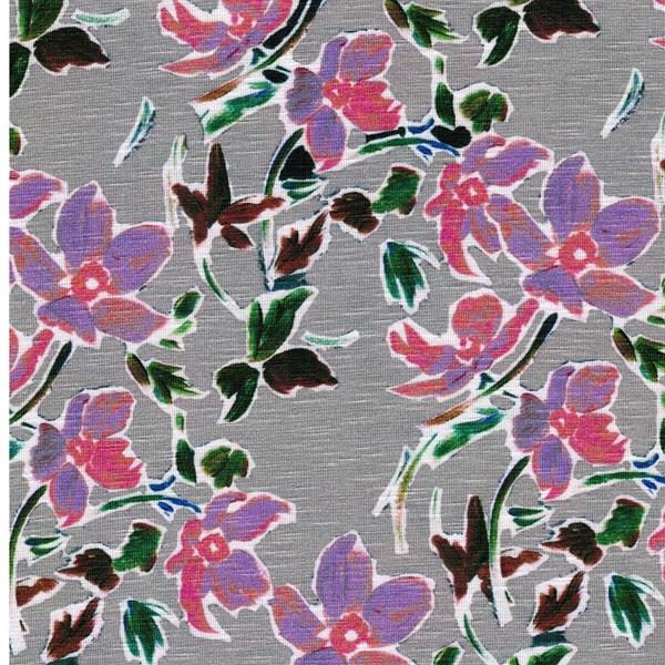 LEVIA Viskose-Slubjersey Blumen hellgrau