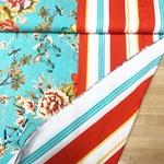 SONRISA Viskose Blüten Streifen türkis