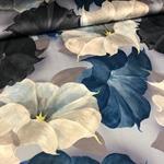 BIG FLOWER Viskose Blüten blau taupe