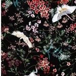 GRUE Viskose Blumen Kraniche schwarz