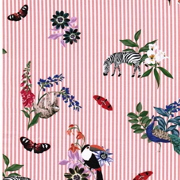 ZOILA Popeline Streifen Tiere lachsrosa
