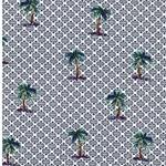 ELDORA Popeline Palmen Muster weiß navy