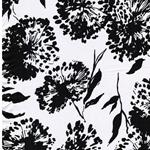 LUISA Viskosesatin Blüten schwarz weiß