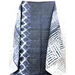 GIULIANO Leinen Batikprint blau weiß