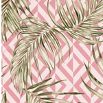 PALMIERA Baumwollsatin Palmblätter Raute