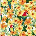 CLARETA Popeline Blüten Papageien gelb