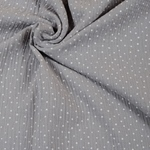 Double Gauze Dots Musselin grau weiß