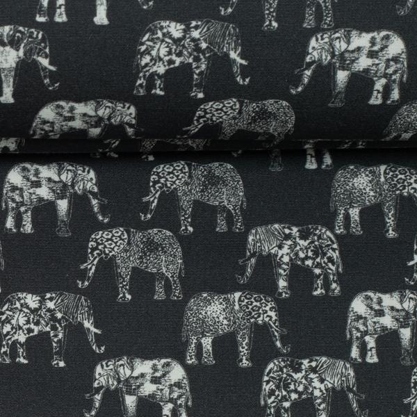 FLORIAN Popeline Elefanten schwarz