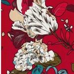 ADELLA Viskosesatin Blüten rot
