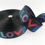 Gurtband LOVE 38 mm bunt schwarz