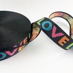 Gurtband LOVE 25 mm bunt schwarz