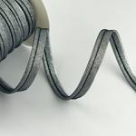 Paspel elastisch Glitzer silber schwarz