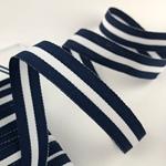 Ripsband gestreift 16 mm navy, weiß