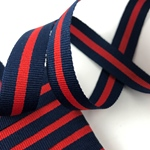 Ripsband gestreift 16 mm navy, rot