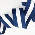 Ripsband gestreift 35 mm navy, weiß