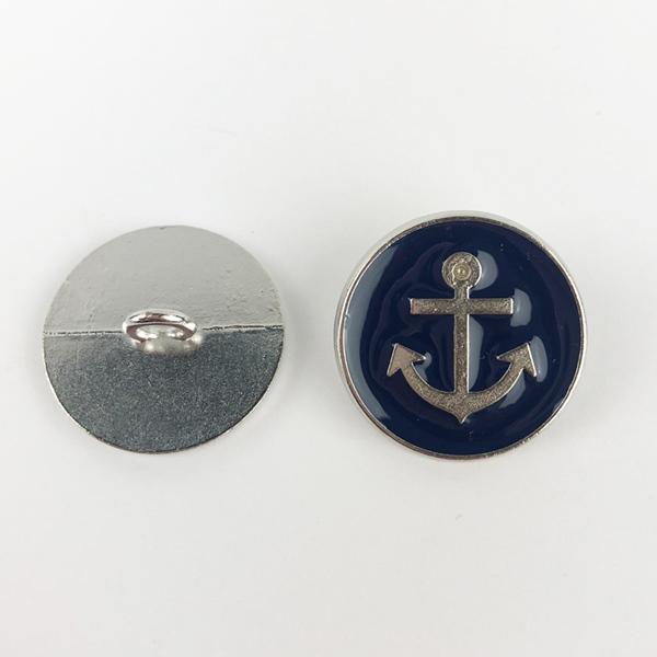 Metallknopf mit Öse 15 mm Anker navy
