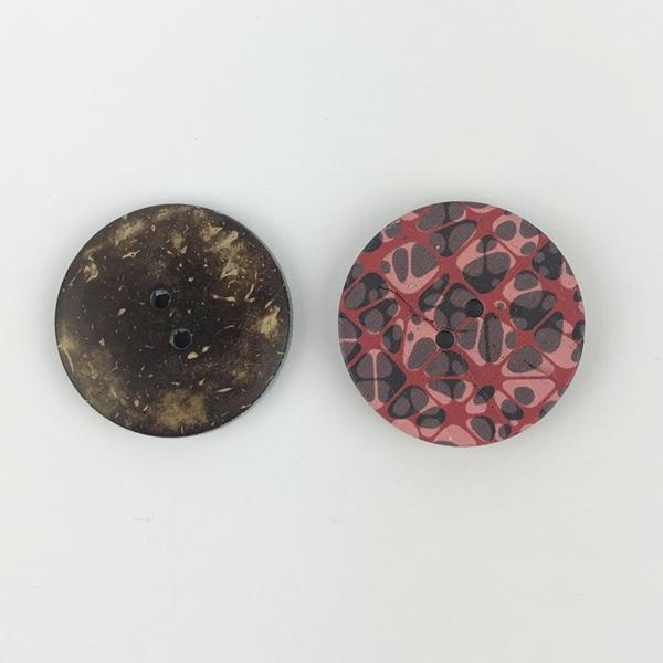 Kokosknopf 2-Loch 30 mm marmoriert rot