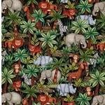 KIM Popeline Dschungeltiere schwarz grün