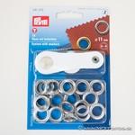 PRYM  15 Ösen mit Scheiben 11mm silber