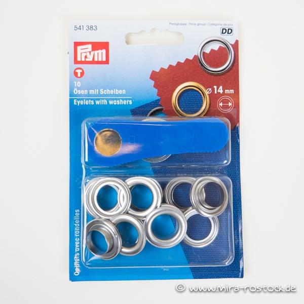 PRYM  10 Ösen mit Scheiben 14mm silber